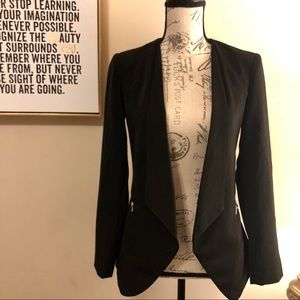 Black Blazer Jacket With Zipper Detailing